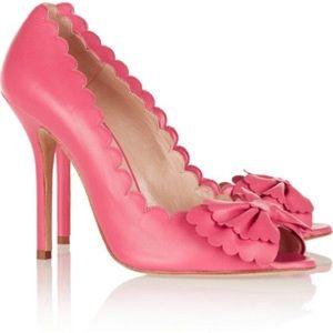 Oscar de la Renta scallop bow peep-toe heels